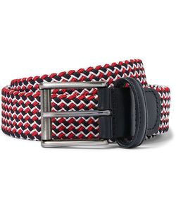 ANDERSON'S | 3cm Leather-Trimmed Woven Elastic Belt