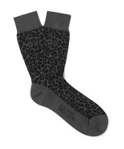 Alexander McQueen | Leopard Jacquard-Knit Cotton-Blend Socks