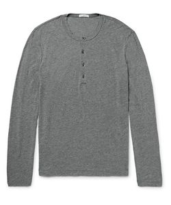 James Perse | Slim-Fit Mélange Cotton And Linen-Blend Henley T-Shirt
