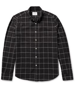 Steven Alan | Button-Down Collar Windowpane Checked Brushed-Cotton Shirt