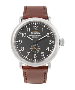 SHINOLA | The Runwell 47mm Stainless Steel And Leather Watch