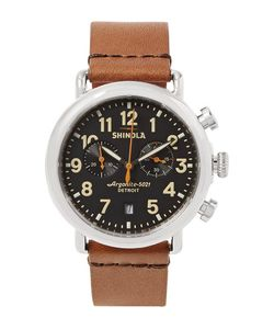 SHINOLA | The Runwell 41mm Stainless Steel And Leather Chronograph Watch
