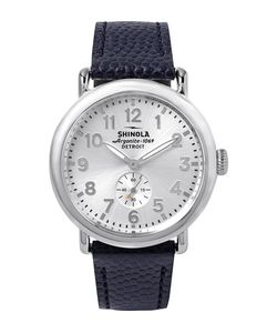 SHINOLA | The Runwell 41mm Stainless Steel And Pebble-Grain Leather Watch