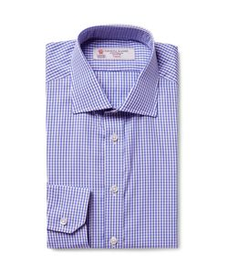 Turnbull & Asser | Cutaway-Collar Gingham Cotton-Poplin Shirt