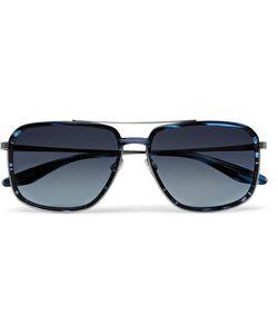 BARTON PERREIRA   Magnate Aviator-Style Acetate And Pewter-Tone Sunglasses Midnight