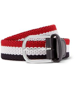 ANDERSON'S | 3.5cm Leather-Trimmed Striped Canvas Belt