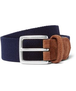 ANDERSON'S | 3.5cm Suede-Trimmed Canvas Belt