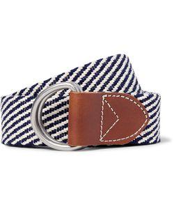 J.Crew | 3.5cm Leather-Trimmed Woven Cotton Belt