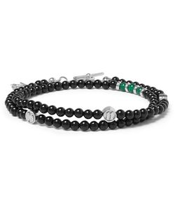Isaia   Onyx Agate And Bead Wrap Bracelet