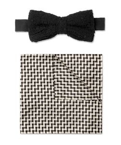 Marwood | Cotton-Lace And Silk Bow Tie And Pocket Square Set