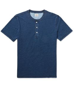 Faherty | Slim-Fit Indigo-Dyed Cotton-Jersey Henley T-Shirt