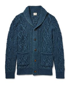 Faherty | Shawl-Collar Indigo-Dyed Cable-Knit Cotton Cardigan