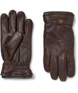 Hestra | Utsjö Fleece-Lined Full-Grain Leather And Wool-Blend Gloves Dark