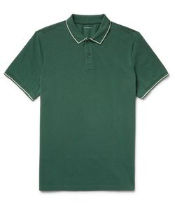 Club Monaco | Contrast-Tipped Cotton-Piqué Polo Shirt