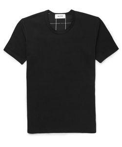 Aloye   Beams Checked Poplin-Panelled Cotton-Jersey T-Shirt