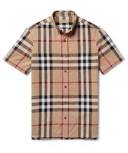 Burberry | Button-Down Collar Checked Linen And Cotton-Blend Shirt