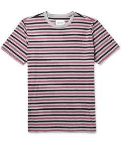 Albam   Mélange Striped Cotton-Jersey T-Shirt