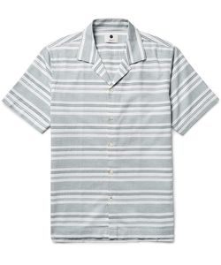 NN07 | Miyagi Camp-Collar Striped Cotton Shirt
