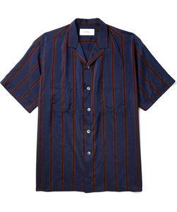 SECOND/LAYER   Camp-Collar Striped Twill Shirt