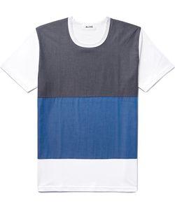 Aloye   Colour-Block Panelled Cotton T-Shirt