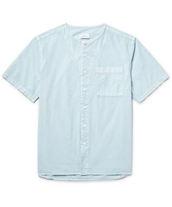 SATURDAYS NYC | Pontus Collarless Cotton-Poplin Shirt