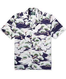 Gitman Vintage   Camp-Collar Crane-Print Cotton-Poplin Shirt
