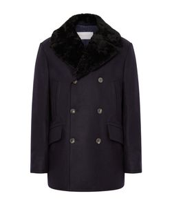 Private White V.C. | Private V.C. Manchester Shearling-Trimmed Wool Peacoat