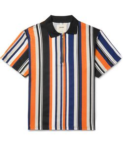 Noon Goons | Striped Cotton-Jersey Half-Zip Polo Shirt