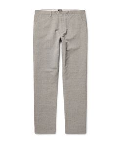 J.Crew | 770 Slim-Fit Micro-Checked Slub Linen And Cotton-Blend Chinos