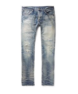 Fabric-Brand & Co | Emmet Slim-Fit Distressed Selvedge Denim Jeans