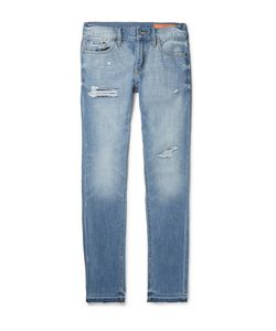 JEAN SHOP | Jim Skinny-Fit Distressed Selvedge Denim Jeans Mid