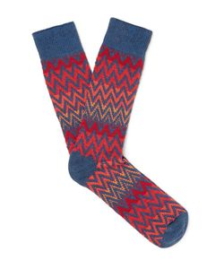 Anonymous Ism | Patterned Stretch Cotton-Blend Socks