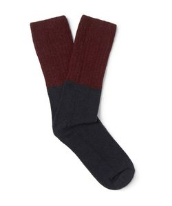 NN07 | Colour-Block Wool-Blend Socks