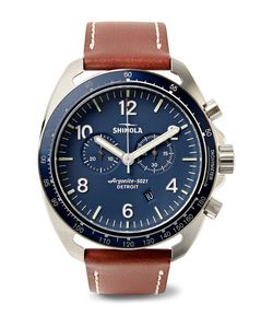 SHINOLA | The Rambler Tachymeter Chronograph 44mm Stainless Steel And Leather