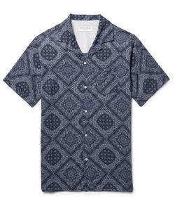 Officine Generale   Dario Camp-Collar Printed Cotton Shirt