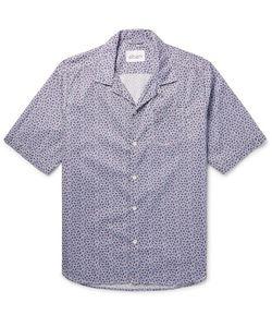Albam   Panama Camp-Collar Printed Cotton-Poplin Shirt