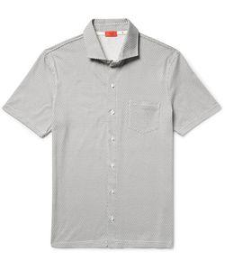 Isaia   Spread-Collar Printed Cotton-Jersey Shirt