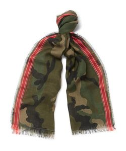 Valentino | Camouflage-Print Wool-Blend Scarf