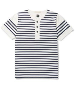 Albam | Striped Cotton-Jersey Henley T-Shirt