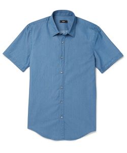 HUGO BOSS | Slim-Fit Washed Cotton-Chambray Shirt