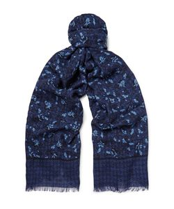 Isaia | Printed Cashmere And Wool-Blend Twill Scarf