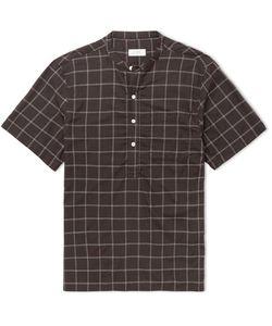 SATURDAYS NYC | Dimitri Grandad-Collar Windowpane-Checked Modal And Silk-Blend Shirt