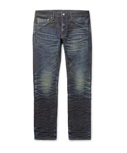 Fabric-Brand & Co | Jacob Slim-Fit Distressed Selvedge Denim Jeans
