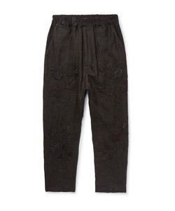 BY WALID | Morton Tape Cropped Embroide Linen Trousers