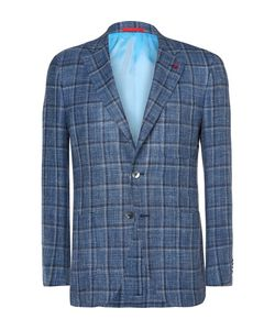 Isaia   Slim-Fit Checked Wool Linen And Silk-Blend Blazer