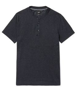 HUGO BOSS | Slim-Fit Denim-Trimmed Cotton-Blend Jersey Henley T-Shirt