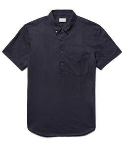Club Monaco | Button-Down Collar Cotton-Blend Jersey Polo Shirt Midnight