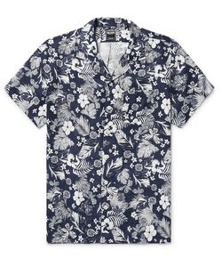 TODD SNYDER | Camp-Collar Print Linen Shirt