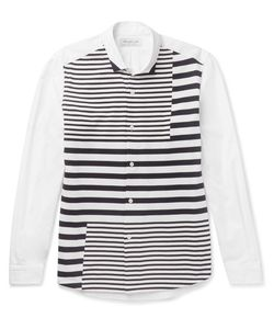 Tomorrowland | Striped Tricot-Panelled Cotton-Poplin Shirt
