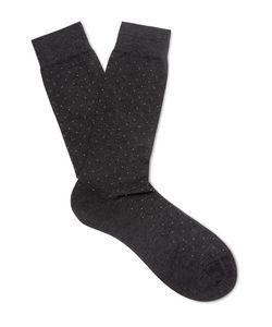 PANTHERELLA | Regent Pin-Dot Cotton-Blend Socks